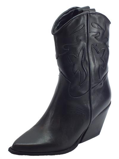 Articolo Deky 704 Vitello Nero Stivali Texani per Donna in pelle