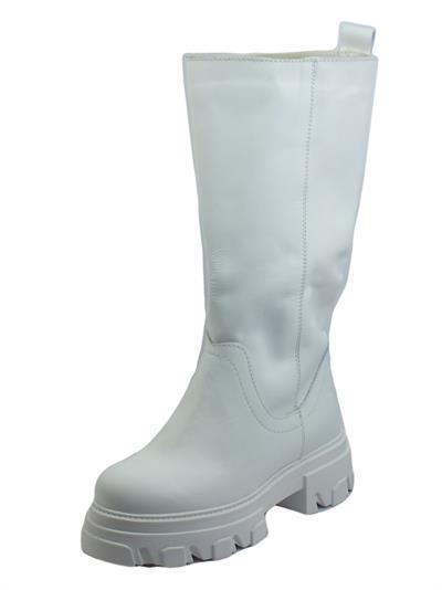 Deky 985 Bianco Stivali per Donna made in Italy in vera pelle con zeppone gambale lungo