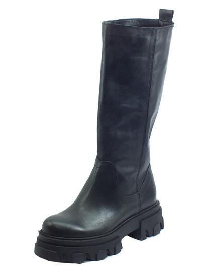Articolo Deky 985 Nero Stivali per Donna made in Italy in vera pelle con zeppone gambale lungo