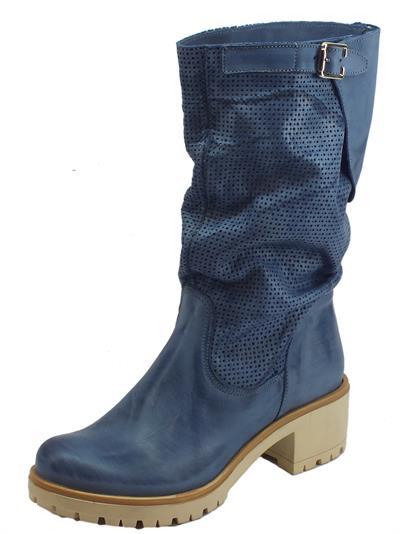 Articolo Deky stivali donna in nabuk spazzolato colore blu gambale punzonato