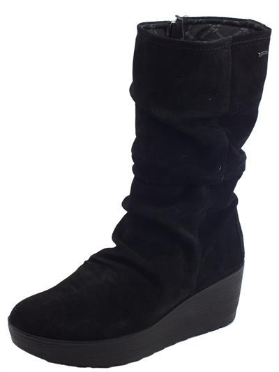 Articolo Igi&Co 4162700 Scam. Super Nero Stivali Donna in camoscio arricciato con lampo