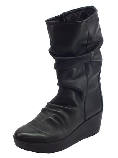 Articolo Igi&Co 4162711 Nappa Soft Nero Stivali Donna in pelle arricciata con lampo