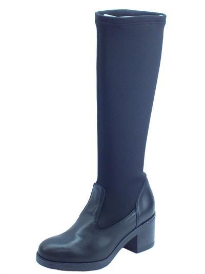 Igi&Co 4180800 Vit. Cer Lycra Nero Stivali donna tessuto elasticizzato e pelle tacco alto