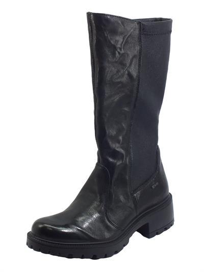 Igi&Co 6160500 Capra Nero Stivali con tacco per Donna in pelle e tessuto elasticizzato nero