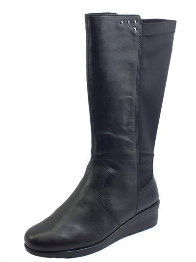 Articolo Melluso K55209 Nero Stivali comodi per Donna in pelle e tessuto elastico