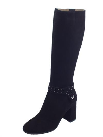 Articolo NeroGiardini A909434DE Capra Scam. Nero Stivali Donna con tacco alto in scamosciato con lampo