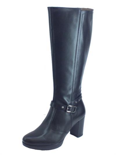 Articolo NeroGiardini A909550D Guanto Nero Stivali Donna in pelle tacco alto con lampo