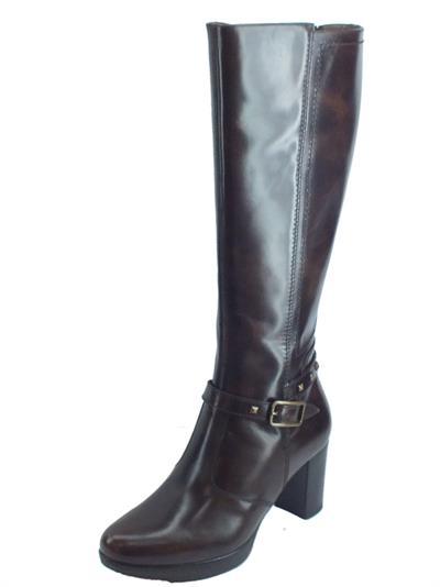 Articolo NeroGiardini A909550D Manolete T. di Moro Stivali Donna in pelle spazzolata tacco alto con lampo