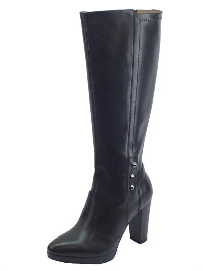 Articolo NeroGiardini A909560D Guanto Nero Stivali Donna in pelle tacco alto e plateau con lampo