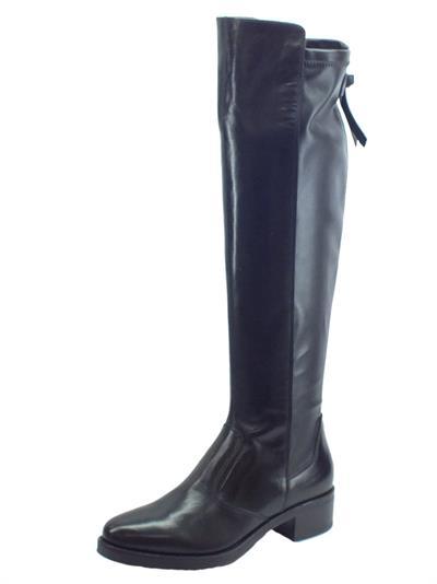Articolo NeroGiardini A909602D Vitello BT Nero Stivali Donna in pelle e tessuto elasticizzato taglio alto