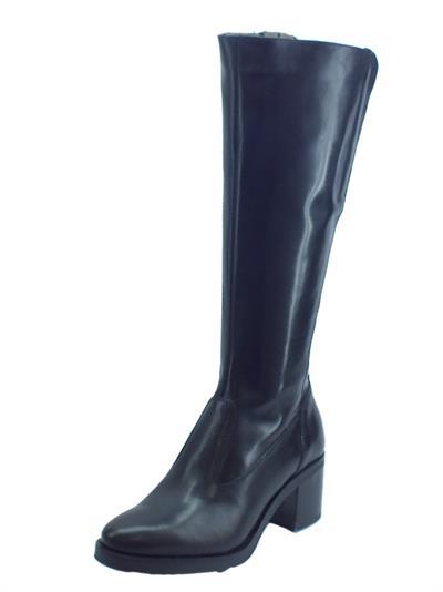 Articolo NeroGiardini A909610D Vitello BT Nero Stivali Donna con tacco medio in pelle con lampo ed elastici