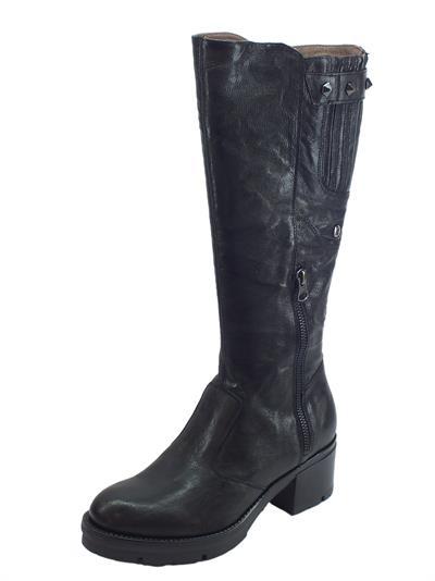 Articolo NeroGiardini A909623D Monaco Nero Stivali Donna con tacco basso pelle martellata lampo