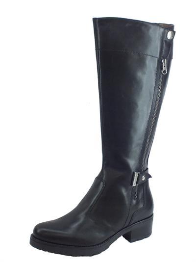 Articolo NeroGiardini A909652D Guanto Nero Stivali Donna in pelle tacco basso con lampo