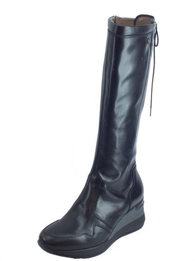 Articolo NeroGiardini A909730D Guanto Nero Stivali Donna in pelle con zeppa lacci e lampo