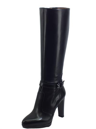 Articolo NeroGiardini I013622DE Nappa Pandora Nero Stivali eleganti per Donna in pelle con tacco alto