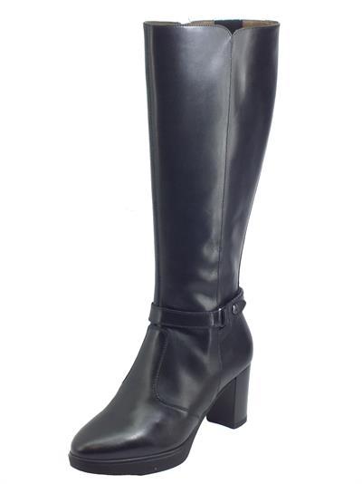 Articolo NeroGiardini I014000D Guanto Nero Stivali eleganti per Donna in pelle con lampo ed elastici