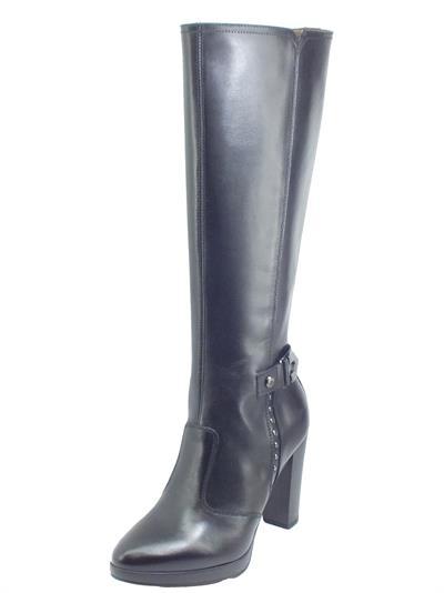 Articolo NeroGiardini I014010D Guanto Nero Stivali eleganti per Donna in pelle con lampo ed elastici