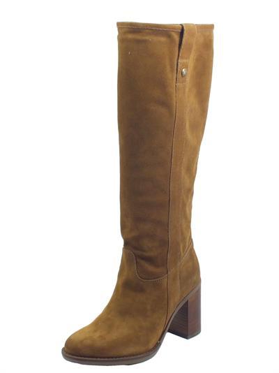 Articolo NeroGiardini I014042D Velour Malto Stivali per Donna in nabuk con mezza lampo tacco alto