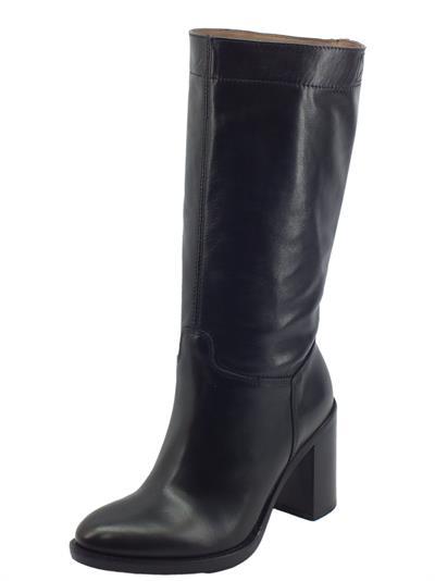 Articolo NeroGiardini I014045D Sauvage Nero Stivali Donna in pelle con mezzalampo tacco medio