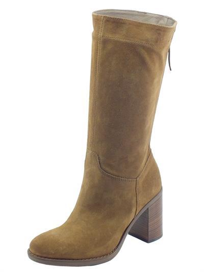 Articolo NeroGiardini I014046D Velour Malto Stivali Donna in camoscio con mezzalampo tacco medio