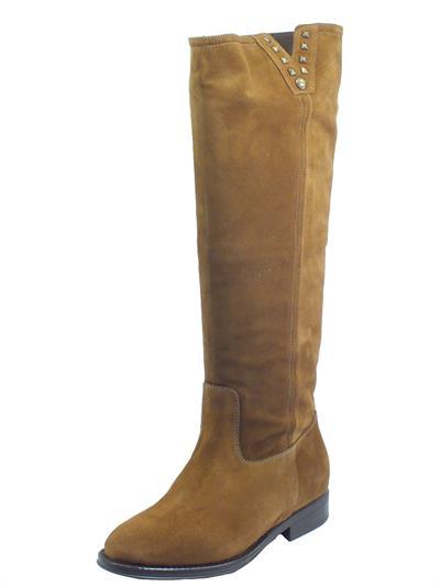 Articolo NeroGiardini I014051D Velour Malto Stivali per Donna in camoscio marrone tacco basso