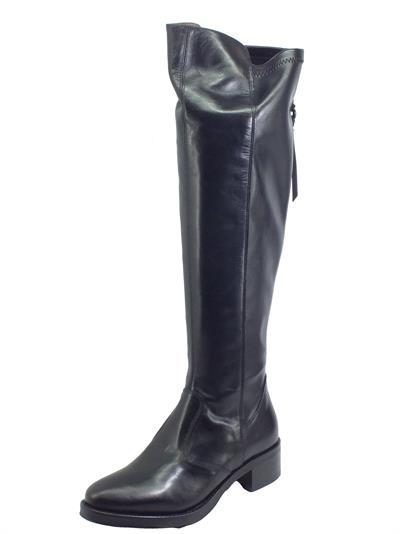 Articolo NeroGiardini I014073D Vitello BT Nero Stivali tagli ginocchio per Donna in pelle con lampo