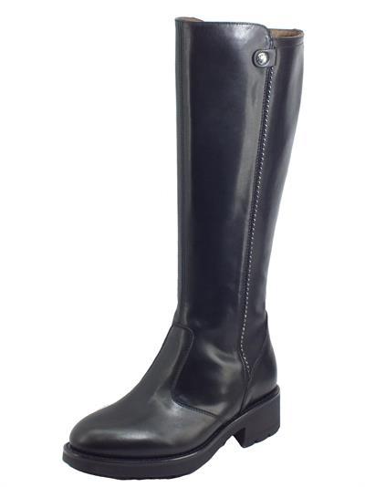 Articolo NeroGiardini I014095D Sauvage Nero Stivali per Donna in pelle con lampo ed elastici
