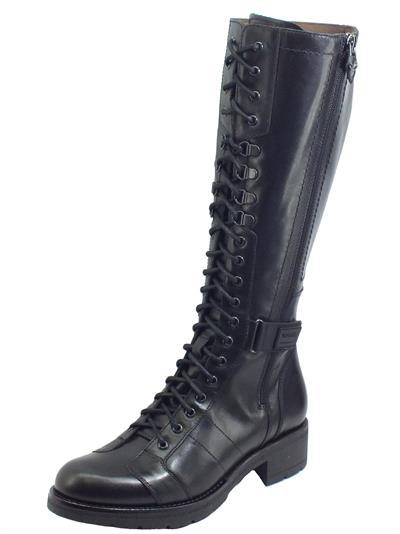 Articolo NeroGiardini I014151D Guanto Nero Stivali per Donna in pelle modello paracadutista doppia lampo