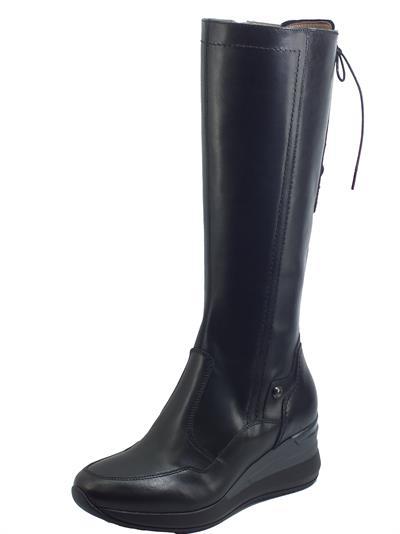 Articolo NeroGiardini I014180D Guanto Nero Stivali per Donna in pelle con lampo e allaccio posteriore