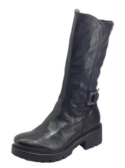 Articolo NeroGiardini I014269D Monaco Nero Stivali per Donna in pelle martellata con lampo