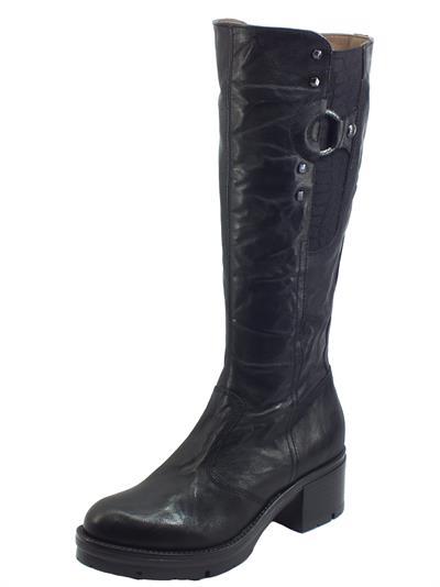 Articolo NeroGiardini I014282D Monaco Nero Stivali per Donna in pelle martellata con lampo ed elastico