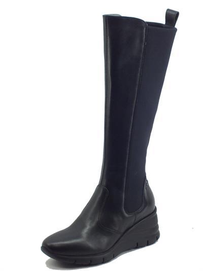 Articolo NeroGiardini I116886D Guanto Nero Stivali Donna in pelle e tessuto elasticizzato