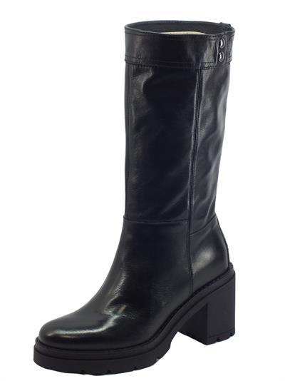Articolo NeroGiardini I117138D Sauvage Nero Stivali Donna in pelle con mezzalampo tacco alto