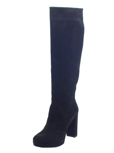 Articolo NeroGiardini I117262DE Velour Nero Stivali Donna in nabuk con tacco alto