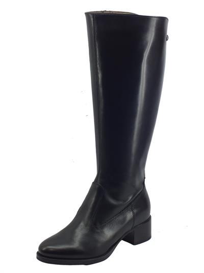 Articolo NeroGiardini I117561D Guanto Nero Stivali cavallerizzo per Donna in pelle tacco basso doppia lampo