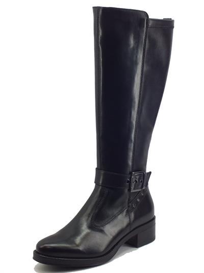 Articolo NeroGiardini I117600D Vitello Nero Stivali Cavallerizzo Donna in pelle con tacco basso