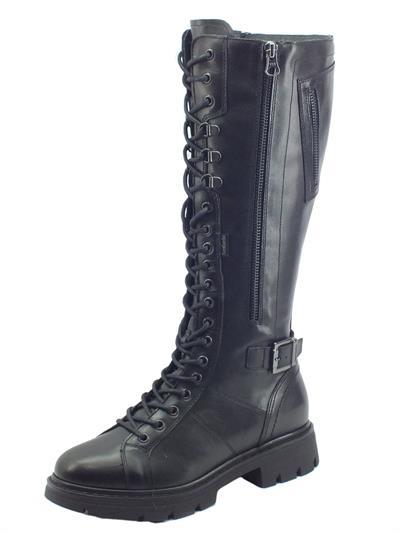 Articolo NeroGiardini I117651D Guanto Nero Stivali Paracadutista per Donna in pelle con lacci e lampo