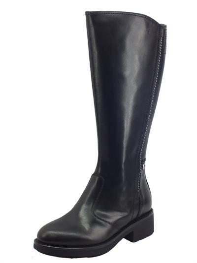 Articolo NeroGiardini I117662D Sauvage Nero Stivali Donna in pelle con tacco basso