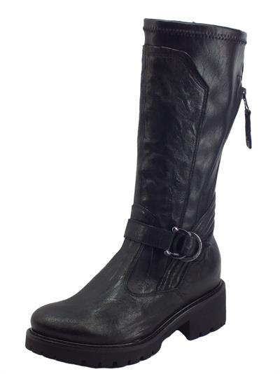 Articolo NeroGiardini I117706D Monaco Nero Stivali Donna in pelle elasticizzata con lampo