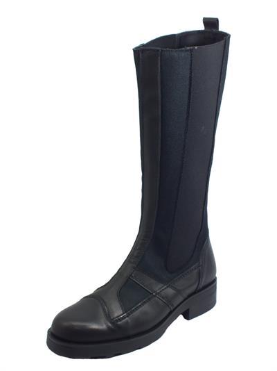 Articolo OXS 101170 Frank 10 Nylon Leather Black Stivali in pelle e tessuto tecnico per donna tacco basso