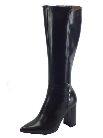 Articolo Stivali a punta eleganti NeroGiardini in pelle nera tacco alto