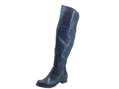 Articolo Stivali Deky per donna in pelle morbida nera con gambale lungo al ginocchio