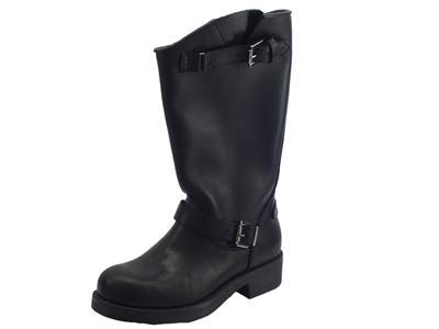 Articolo Stivali Deky per donna in pelle nera gambale medio