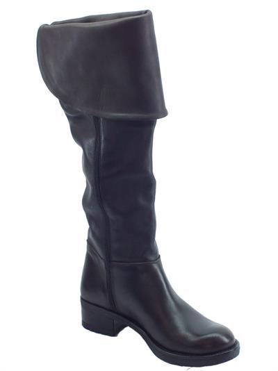 Dettagli su Stivali Deky per donna in pelle testa di moro con risvolto superiore e mezza lam