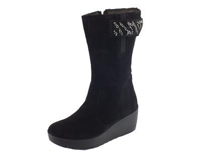 Articolo Stivali Igi&Co per donna in camoscio nero con zeppa alta