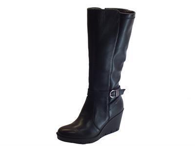 Stivali Igi&Co per donna in pelle nera zeppa alta