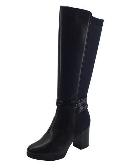 Stivali in vera pelle per donna con mezza-lampo ed elastico posteriore