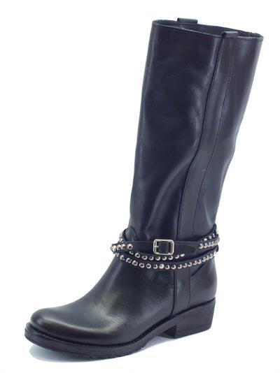 Articolo Stivali Made in Italy per donna in pelle nera tacco basso