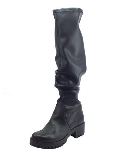 Articolo Stivali Mercante di Fiori in ecopelle elasticizzata nera con tacco medio