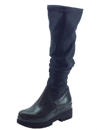 Articolo Stivali Mercante di Fiori in pelle e tessuto elasticizato nero zeppa alta